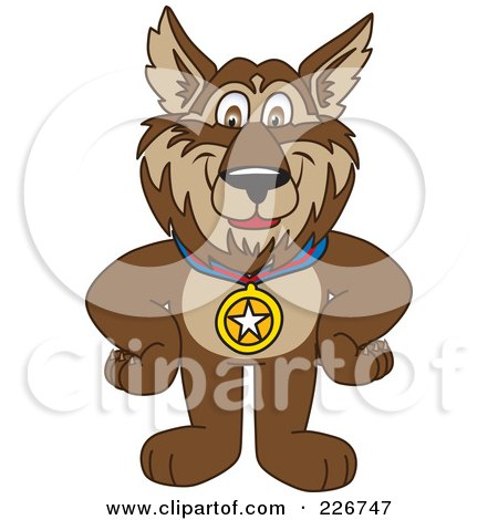 Royalty-Free (RF) Clipart Illustration of a Wolf School Mascot Wearing A Medal by Toons4Biz