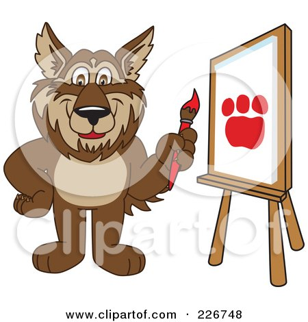 Royalty-Free (RF) Clipart Illustration of a Wolf School Mascot Painting A Paw Print On Canvas by Toons4Biz