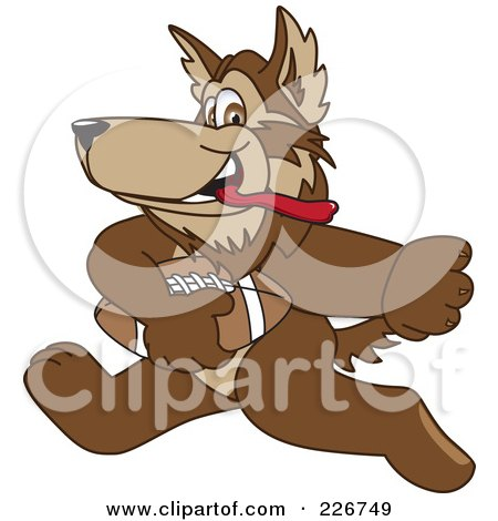 Royalty-Free (RF) Clipart Illustration of a Wolf School Mascot Playing Football by Toons4Biz