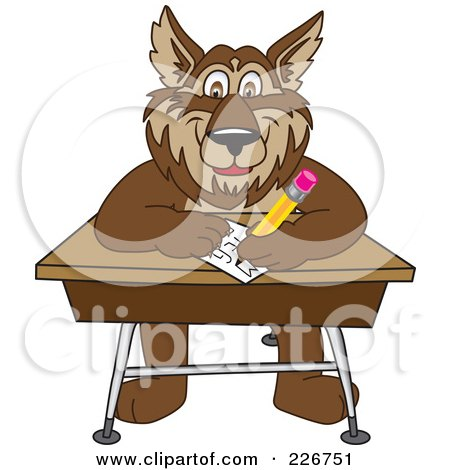 Royalty-Free (RF) Clipart Illustration of a Wolf School Mascot Writing On A Desk by Toons4Biz