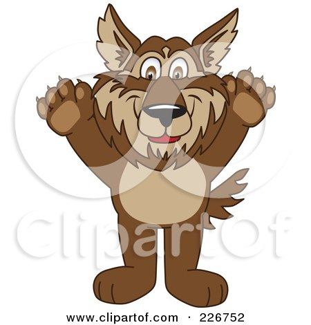 Royalty-Free (RF) Clipart Illustration of a Wolf School Mascot Holding His Paws Up by Toons4Biz