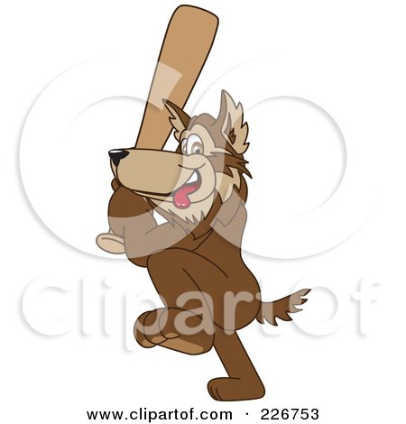 Royalty-Free (RF) Clipart Illustration of a Wolf School Mascot Playing Baseball by Toons4Biz