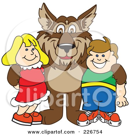 Royalty-Free (RF) Clipart Illustration of a Wolf School Mascot With Students by Toons4Biz