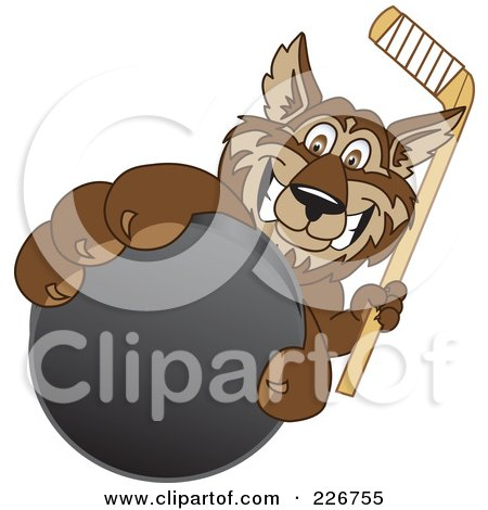Royalty-Free (RF) Clipart Illustration of a Wolf School Mascot Grabbing A Hockey Puck by Toons4Biz