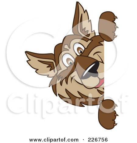 Royalty-Free (RF) Clipart Illustration of a Wolf School Mascot Looking Around A Blank Sign by Toons4Biz