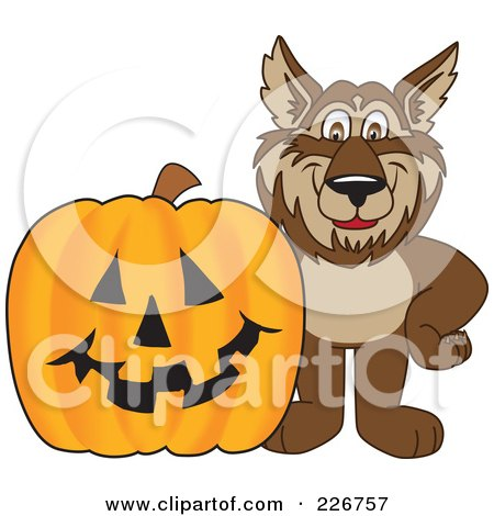 Royalty-Free (RF) Clipart Illustration of a Wolf School Mascot By A Halloween Pumpkin by Toons4Biz