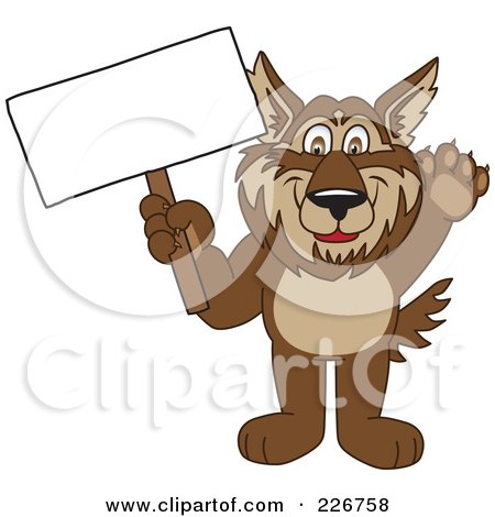 Royalty-Free (RF) Clipart Illustration of a Wolf School Mascot Holding A Blank Sign by Toons4Biz