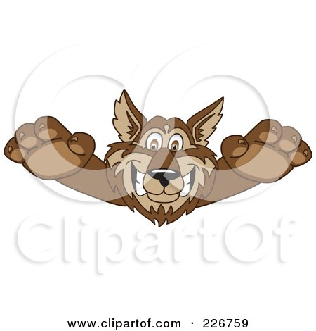 Royalty-Free (RF) Clipart Illustration of a Wolf School Mascot Lurching Forward by Toons4Biz