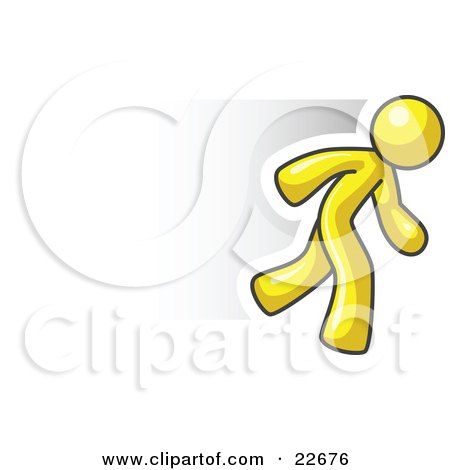 Clip Art Illustration of a Speedy Yellow Business Man Running by Leo Blanchette