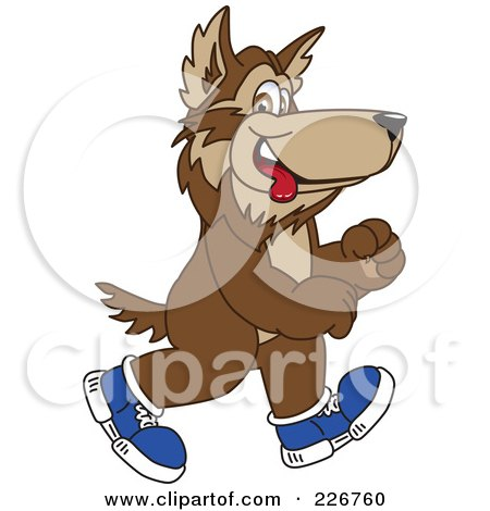 Royalty-Free (RF) Clipart Illustration of a Wolf School Mascot Walking In Shoes by Toons4Biz