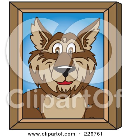 Royalty-Free (RF) Clipart Illustration of a Wolf School Mascot Portrait by Toons4Biz