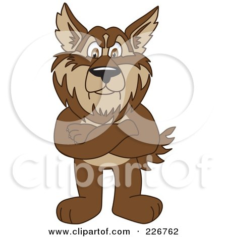Royalty-Free (RF) Clipart Illustration of a Wolf School Mascot Standing With His Arms Crossed by Toons4Biz