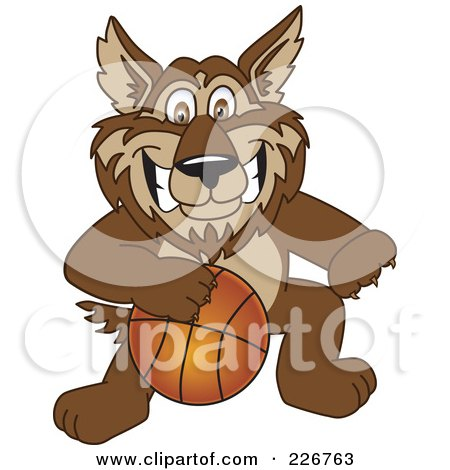 Royalty-Free (RF) Clipart Illustration of a Wolf School Mascot Playing Basketball by Toons4Biz