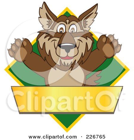 Royalty-Free (RF) Clipart Illustration of a Wolf School Mascot Over A Green Diamond And Blank Gold Banner by Toons4Biz