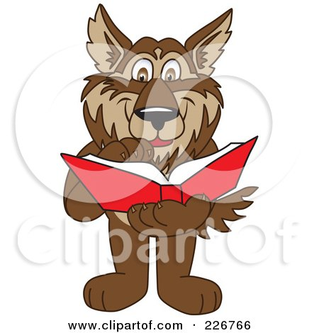 Royalty-Free (RF) Clipart Illustration of a Wolf School Mascot Reading A Book by Toons4Biz