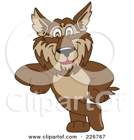 Royalty-Free (RF) Clipart Illustration of a Wolf School Mascot Leaning by Toons4Biz