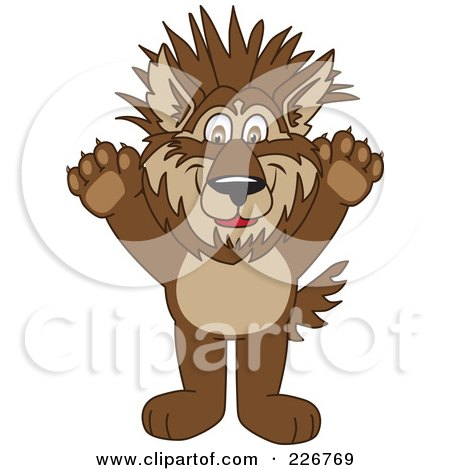 Royalty-Free (RF) Clipart Illustration of a Wolf School Mascot With Spiked Hair by Toons4Biz