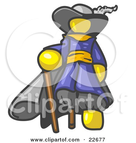 Clipart Illustration of a Yellow Male Pirate With a Cane and a Peg Leg by Leo Blanchette
