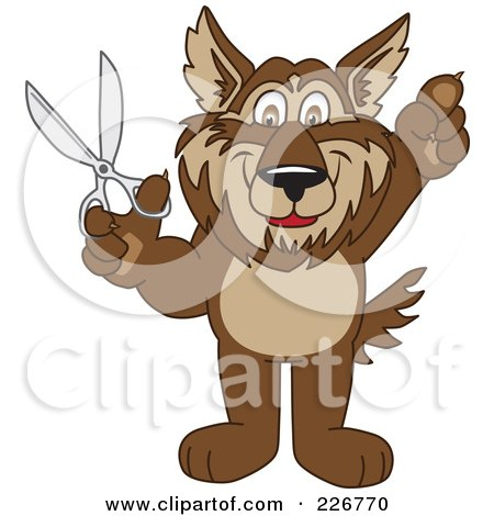 Royalty-Free (RF) Clipart Illustration of a Wolf School Mascot Holding Scissors by Toons4Biz