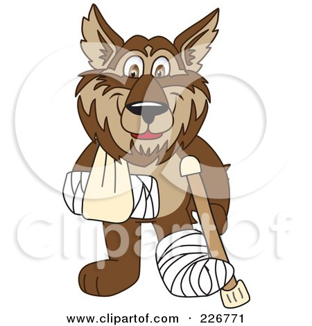 Royalty-Free (RF) Clipart Illustration of a Wolf School Mascot With A Sling, Cast And Crutch by Toons4Biz
