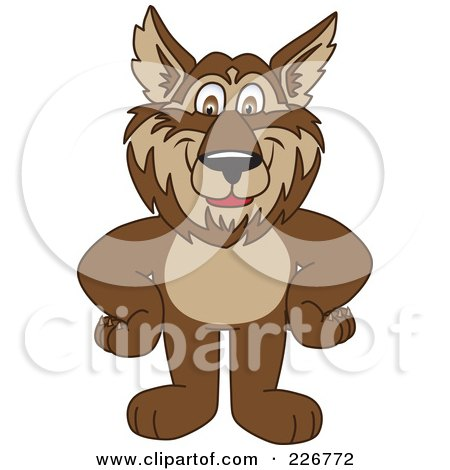 Royalty-Free (RF) Clipart Illustration of a Wolf School Mascot Standing With His Hands On His Hips by Toons4Biz