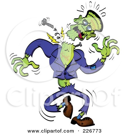 Royalty-Free (RF) Clipart Illustration of Frankenstein's Head Falling Off by Zooco