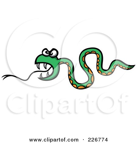 Royalty-Free (RF) Clipart Illustration of a Crazy Evil Snake by Zooco