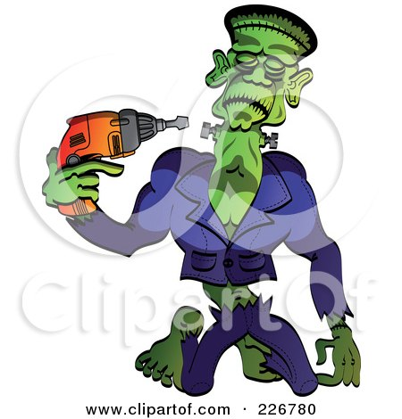 Royalty-Free (RF) Clipart Illustration of Frankenstein Drilling His Head Back On Or Taking It Off by Zooco