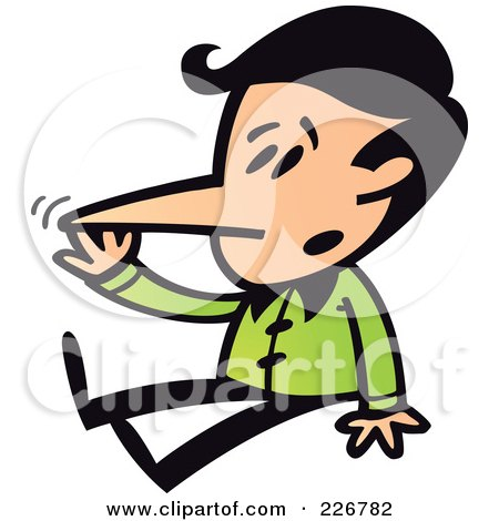 Royalty-Free (RF) Clipart Illustration of a Boy Sitting And Touching His Growing Liar Nose by Zooco