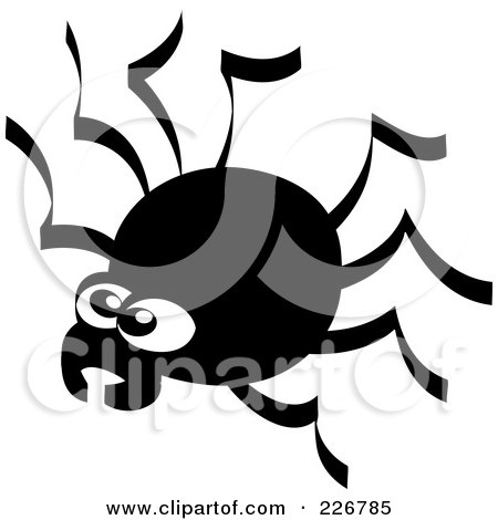 Royalty-Free (RF) Clipart Illustration of a Creepy Black And White Spider by Zooco