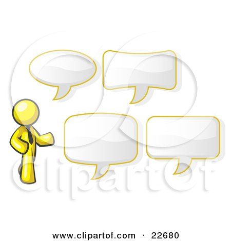 Clipart Illustration of a Yellow Businessman With Four Different Word Bubbles by Leo Blanchette