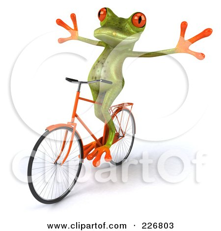 Royalty-Free (RF) Clipart Illustration of a 3d Springer Frog Riding A Bicycle - 4 by Julos