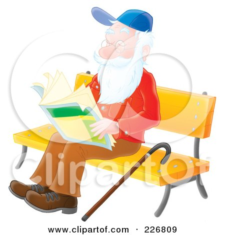 Royalty-Free (RF) Clipart Illustration of an Airbrushed Senior Man Reading On A Bench by Alex Bannykh