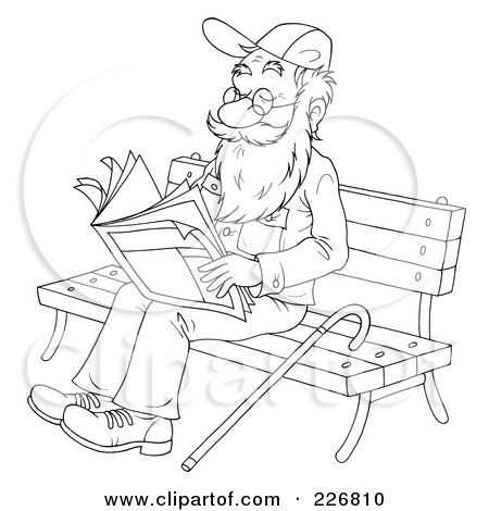Royalty-Free (RF) Clipart Illustration of a Coloring Page Outline Of A Senior Man Reading On A Bench by Alex Bannykh