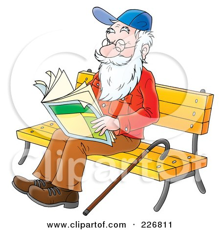 Royalty-Free (RF) Clipart Illustration of a Senior Man Reading On A Bench by Alex Bannykh