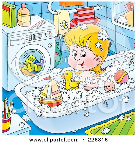 Royalty-Free (RF) Clipart Illustration of a Girl Playing With Toys In The Tub by Alex Bannykh
