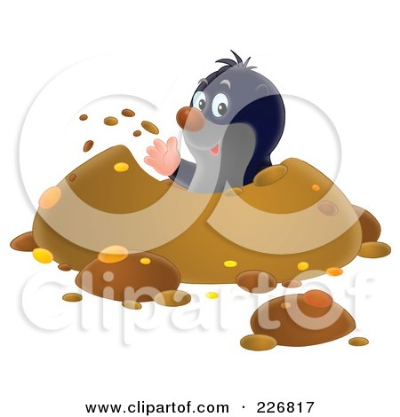 Royalty-Free (RF) Clipart Illustration of a Cute Gopher Waving And Digging A Hole by Alex Bannykh