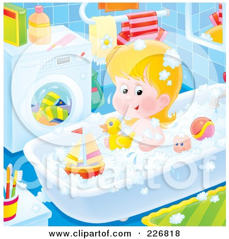 Royalty-Free (RF) Clipart Illustration of an Airbrushed Girl Playing With Toys In The Tub by Alex Bannykh
