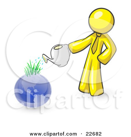 Clipart Illustration of a Yellow Man Using A Watering Can To Water New Grass Growing On Planet Earth, Symbolizing Someone Caring For The Environment by Leo Blanchette
