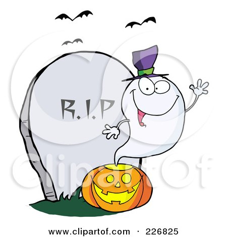 Royalty-Free (RF) Clipart Illustration of a Cute Halloween Ghost Wearing A Witch Hat And Waving Over A Pumpkin By A Tombstone by Hit Toon