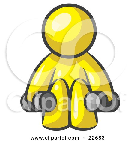 Clipart Illustration of a Yellow Man Lifting Dumbells While Strength Training by Leo Blanchette