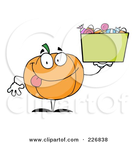 Royalty-Free (RF) Clipart Illustration of a Happy Jackolantern Holding Up A Bin Of Halloween Candy by Hit Toon