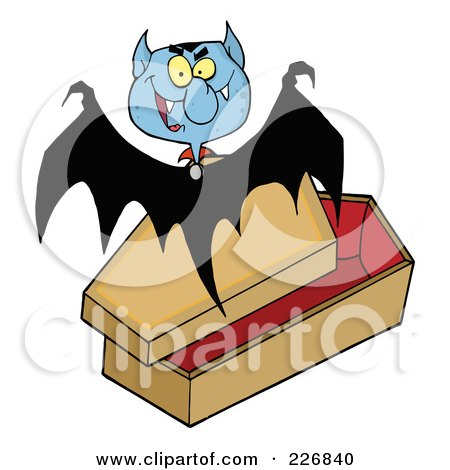 Royalty-Free (RF) Clipart Illustration of a Vampire Bat Flying Above A Coffin by Hit Toon