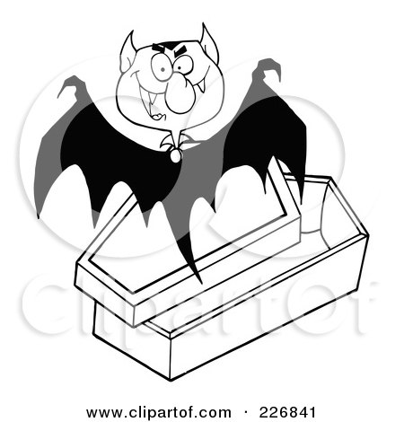 Royalty-Free (RF) Clipart Illustration of a Black And White Vampire Bat Flying Above A Coffin by Hit Toon