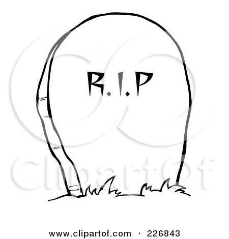 Royalty-Free (RF) Clipart Illustration of a Stone RIP Headstone In ...
