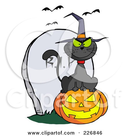 Royalty-Free (RF) Clipart Illustration of a Black Cat Wearing A Witch Hat And Sitting On A Pumpkin By A Tombstone by Hit Toon