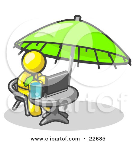 Clipart Illustration of a Traveling Yellow Business Man Sitting Under an Umbrella at a Table Using a Laptop Computer  by Leo Blanchette