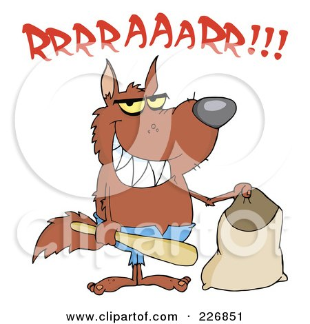 Royalty-Free (RF) Clipart Illustration of a Growling Werewolf Holding A Bat And Trick Or Treat Bag by Hit Toon
