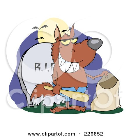 Royalty-Free (RF) Clipart Illustration of a Werewolf Holding A Bat And Trick Or Treat Bag By A Tombstone by Hit Toon