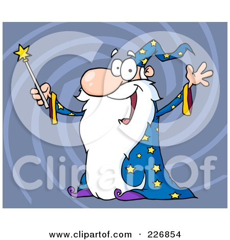 Royalty-Free (RF) Clipart Illustration of a Jolly Old Wizard In A Star Robe, Holding Up His Wand Over Blue Swirls by Hit Toon